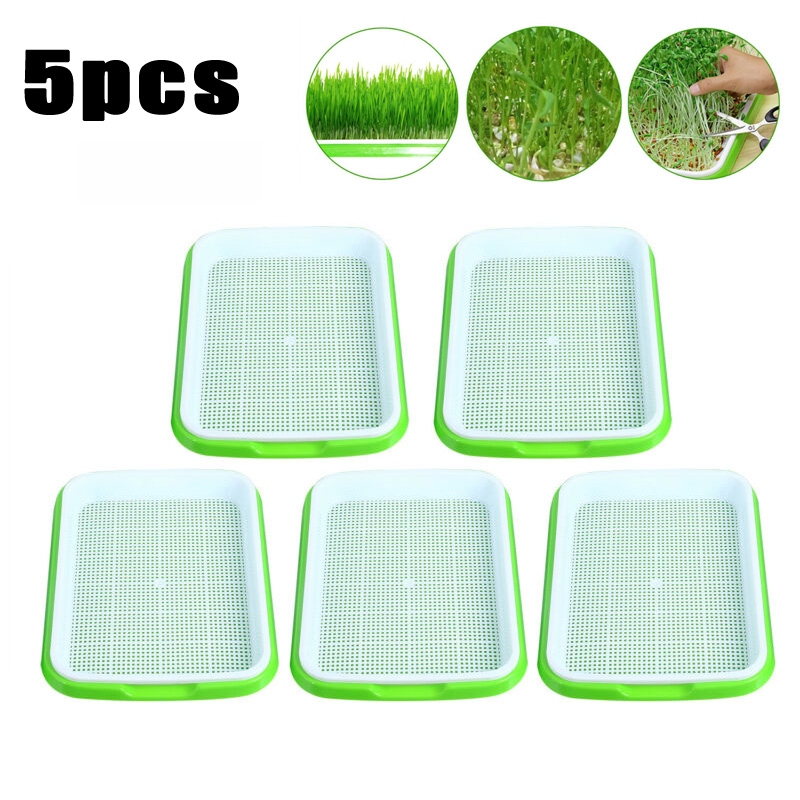 10pcs Nursery Tray Seed Sprouter Tray Plastic Soil Free Capacity Wheatgrass Grass Grow Box High Quality|Nursery Trays & Lids| |  - title=