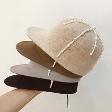 Новая модная шерстяная бейсболка с элегантным жемчугом, отделанная теплым козырьком, зимняя шапка, шляпа для конной езды, рыцарская шапка, шерстяная шапка