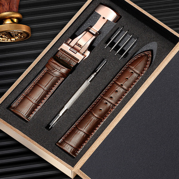 Abbylun Genuine Leather Watch Strap 12-24MM Men Women Watch Band Butterfly Buckle Watch Accessories Hot7-14