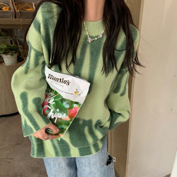 Женский вязаный свитер в полоску, Зеленый Свитер оверсайз в винтажном стиле, свободные длинные пуловеры в уличном стиле
