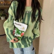 Zielona, z nadrukiem sweter z dzianiny kobiety w stylu Vintage w zielone paski sweter swetry oversize kobiet Streetwear luźne długie swetry Sueter