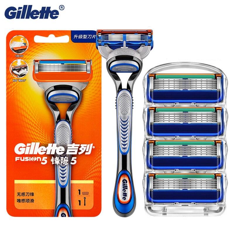 Punho de Navalha Masculino com Lâmina Lâminas de Barbear Manual para Facail Cuidados de Segurança Remoção do Cabelo Gillette Fusion Recargas Barba 5