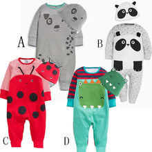 Cute cartoon animal suit boy and girl baby tights 100% cotton newborn long-sleeved body clothes baby onesies children clothes(China)