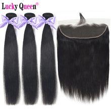 Brazilian straight Hair Bundles With Lace Frontal 100% Human Non Remy Extensions Lucky Queen
