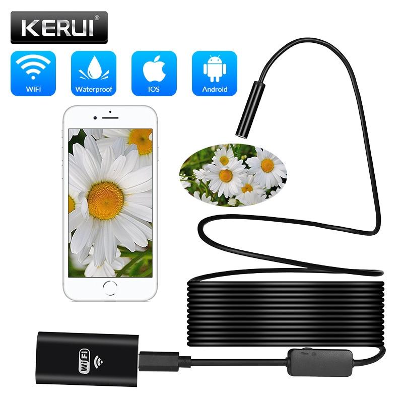 KERUI 1m 2m 5m Endoscope Camera 8mm Wireless WiFi 1200P HD Wifi Waterproof Endoscope Borescope Inspection Android IPhone Camera