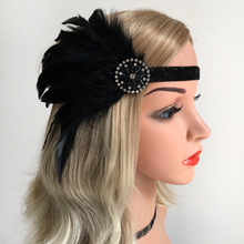 Womens Black Headband 1920s  Headdress Headwear Hair Band Flappers Accessories