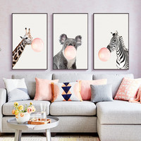 Nordic Animal Adornment Painting Picture Frame For Living Room Decor Fashion Art Style Photo Frame Sofa Background Wall Pictures