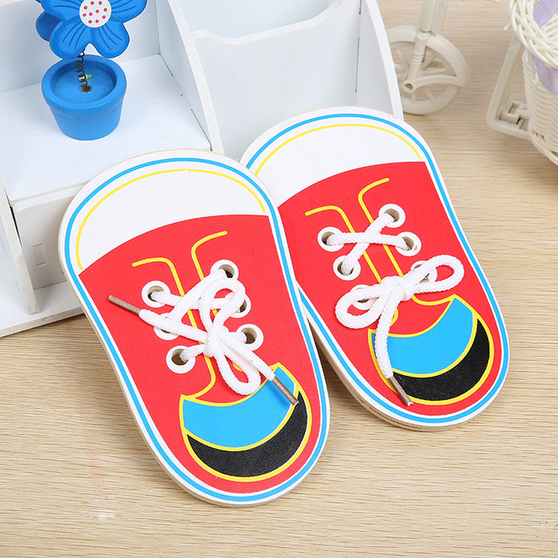 Montessori Toys Educational Wooden Toys for Children Early Learning Teaching Lacing Shoes Kids Tie Shoelaces Games 1PC