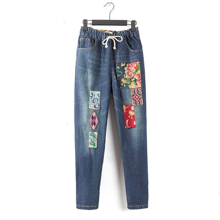 Большие размеры индивидуальные винтажные вышивка стежка лоскутное эластичные джинсовые брюки mori girl джинсы бутик брюки для женщин