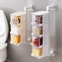 Rotatable Seasoning Storage Boxes Spice Jar Spices Storager Wall Hanging Rotating Kitchen Tools Kitchen Condiment Box