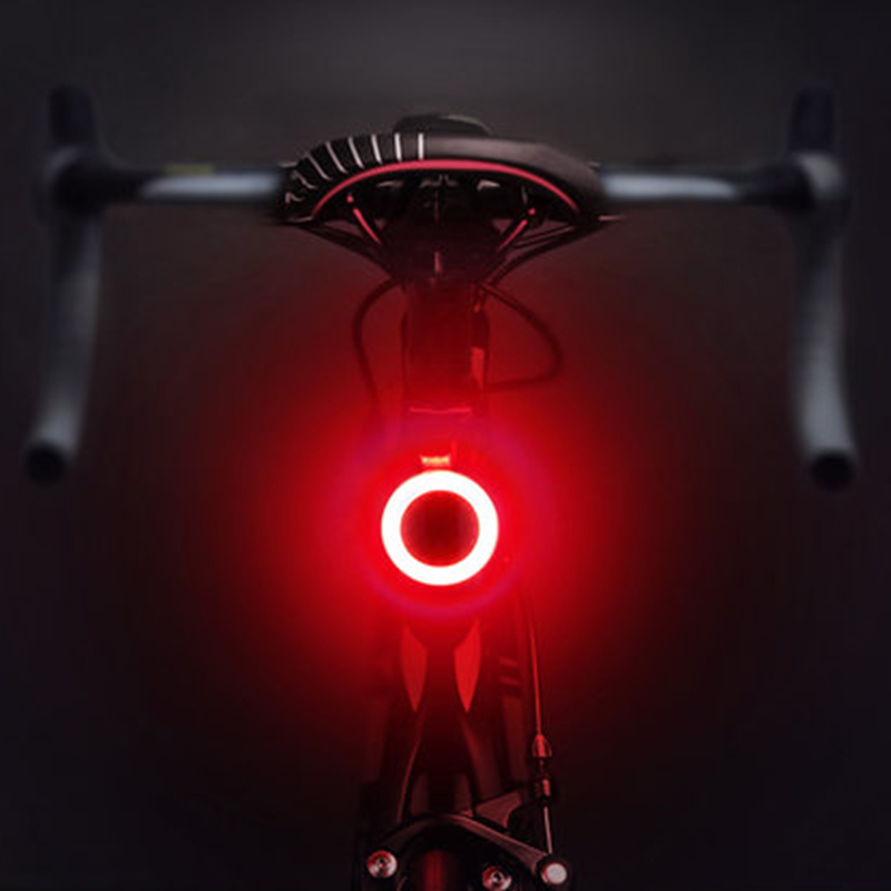 Bicycle Circle Rear <font><b>Light</b></font> LED Road Mountain <font><b>Bike</b></font> <font><b>Light</b></font> USB <font><b>Rechargeable</b></font> Taillight MTB Warning Tail Lamp 5 Modes Cycling Lantern image