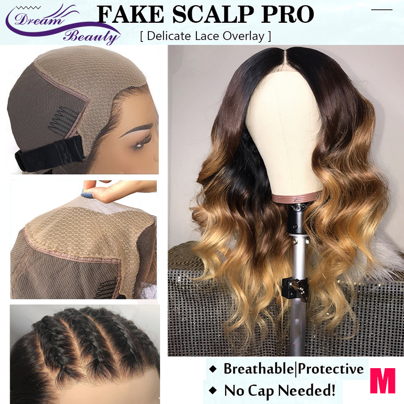 Ombre Blonde Color Deep Parting 13x6 Lace Front Human Hair Wigs 180% Brazilian Remy Fake Scalp Cap Lace Wig Dream Beauty