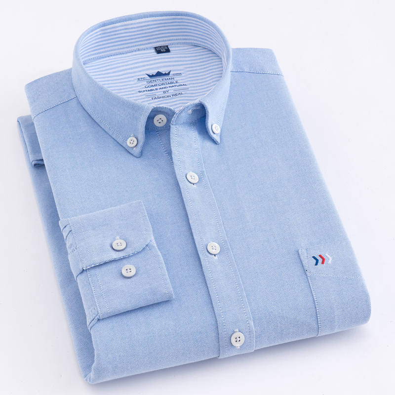 Men's Regular-Fit Long-Sleeve Oxford Solid Woven Shirt Patch Pocket With Logo Applique At Chest Casual Button Down Dress Shirts