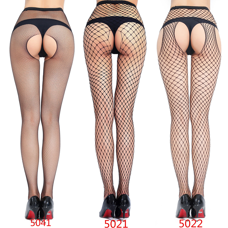 Woman Sexy Lingerie Pantyhose Erotic Stockings Jeans Hole Bottoming Mesh Open Crotch Fishnet Erotic Socks Intimate Goods For Sex