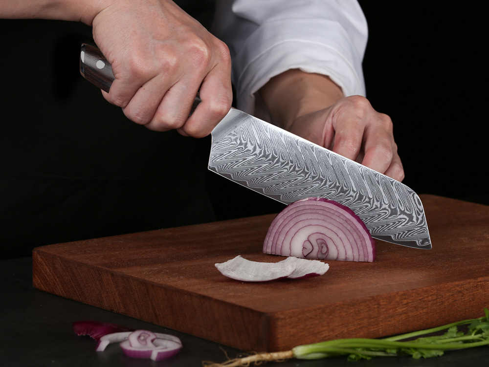 TURWHO 7 אינץ יפני שף סכין פלדת דמשק Santoku סכיני התמודדות עם בשר פירות ירקות מקצועי מטבח סכיני