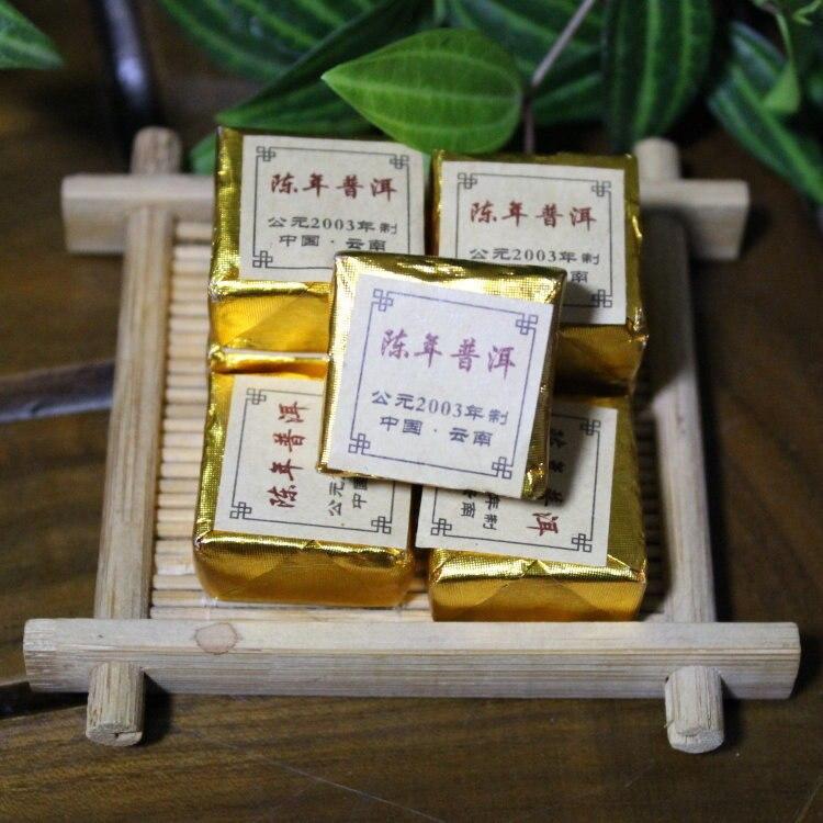 China 2003 Year Old Ecology Organic Ripe Puerh Tea Brick 5-9g/piece More Than 15 Years Old Pu Er Tea Puer Tea Cooked Pu Erh Tea