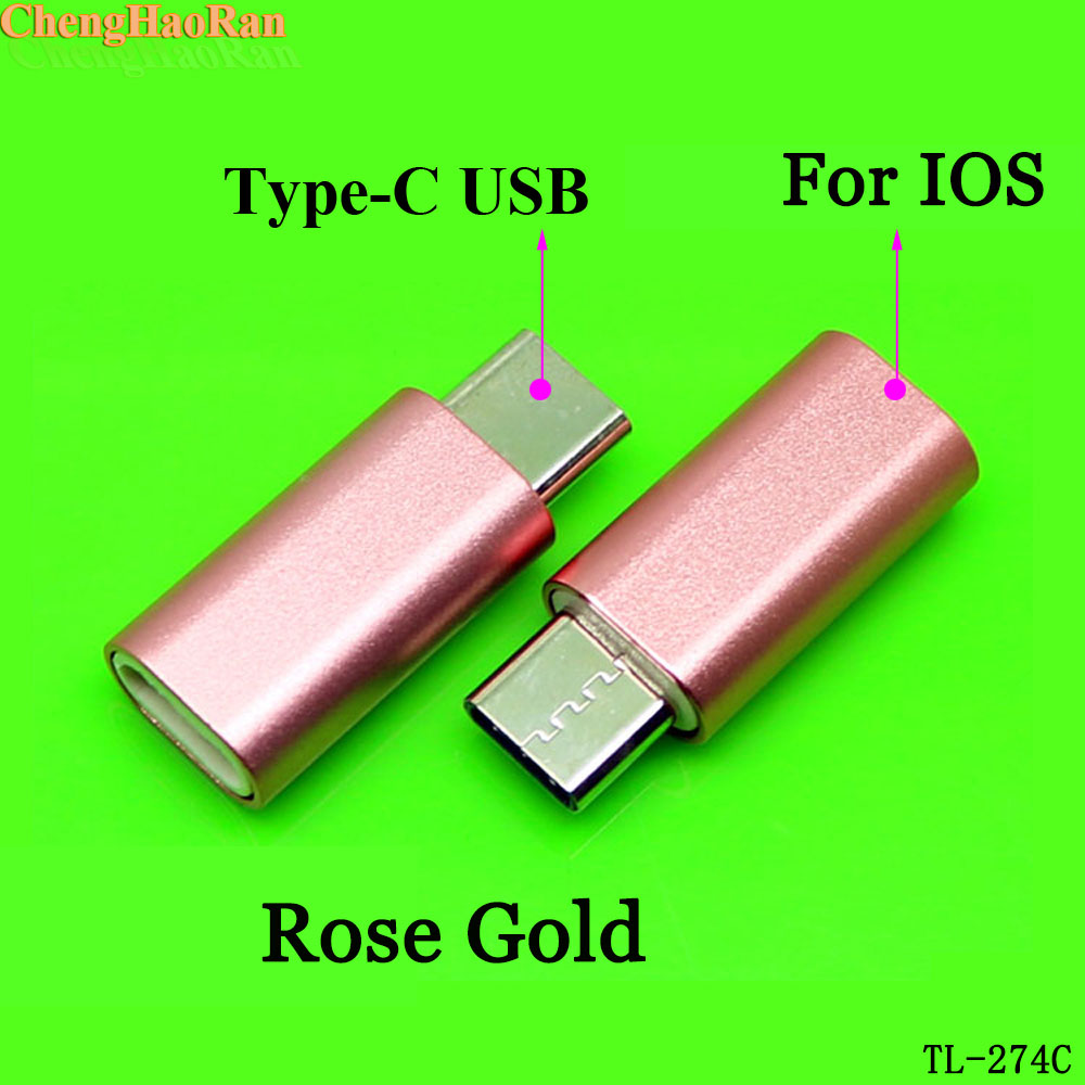 ChengHaoRan 2pcs For IOS Female To TYPE-C Male Connector Ios Micro Usb Adapters Mobile Charging Adapter Data Cable 3 Colors