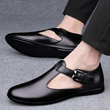 Men's Sandals Summer Genuine Leather Luxury Brand Fashion Sandals Classics Rome Retro Style Business Flat Casual Beach Shoes