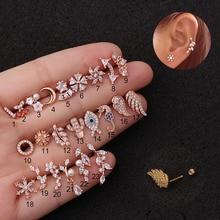 1 ud. Pendientes de cartílago de hélice de acero inoxidable de 20g, pendientes de moda con forma de planta Animal, Daith Tragus, pendientes con rosca en la parte posterior, Piercing de perno, regalo de joyería