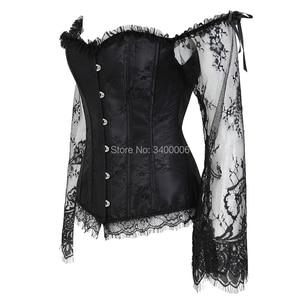 Image 2 - Damska gorset z rękawy w stylu Vintage w stylu wiktoriańskim Retro w stylu Burlesque koronki gorset i gorsety wierzchnia kamizelka moda biały czarny