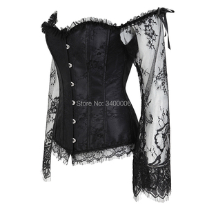 Image 2 - Womens Overbust Corset with Sleeves Vintage Victorian Retro Burlesque Lace Corset and Bustiers Top Vest Fashion White Black