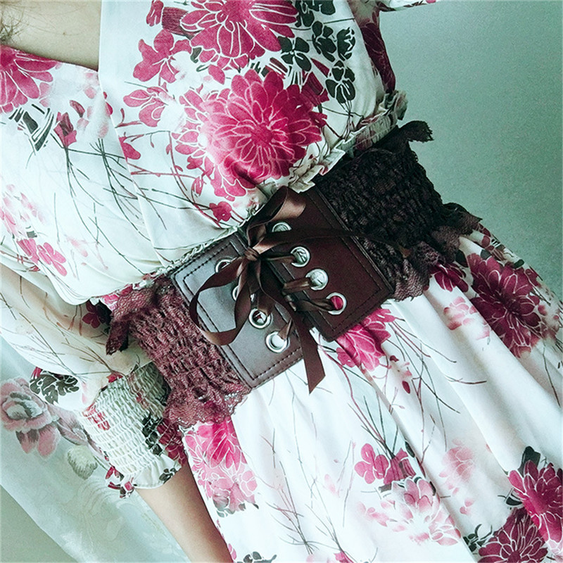 Women Cummerbunds New Fashion Foral Lace Wide Skinny Bowknot Waist Belt Female Elastic Stretch Cinch Dress Waistband Lady Belts