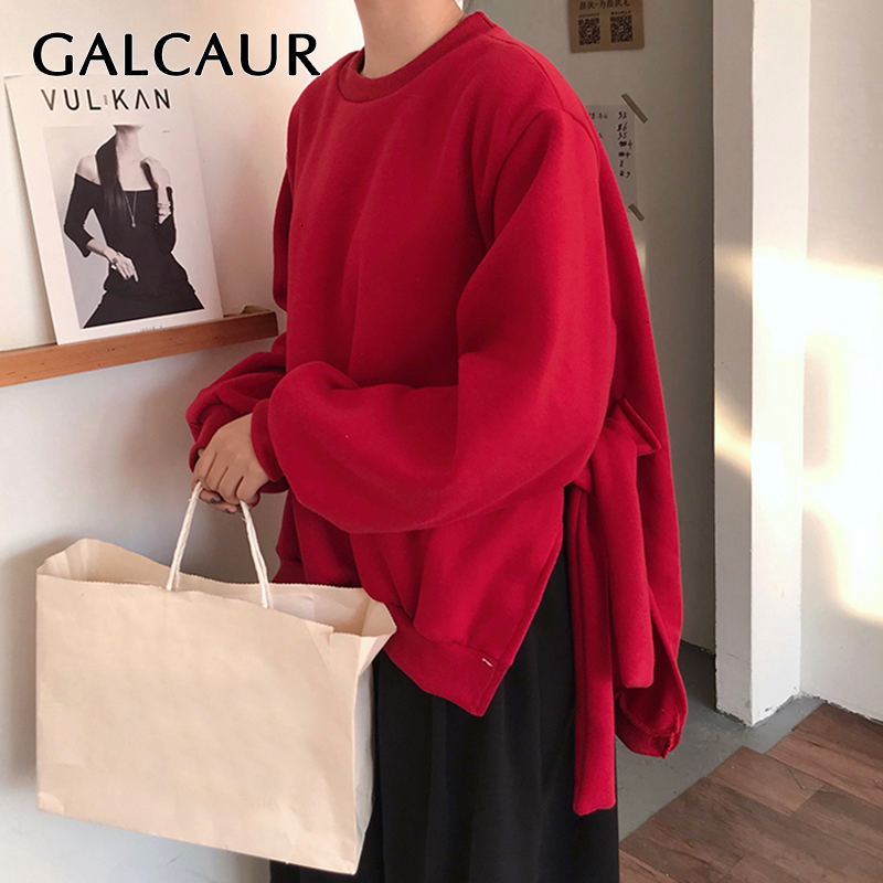 GALCAUR Lace Up Side Split Sweatshirts Female O Neck Lantern Long  Sleeve Warm Plus Thick Autumn Womens Sweatshirt Fashion 2020Hoodies