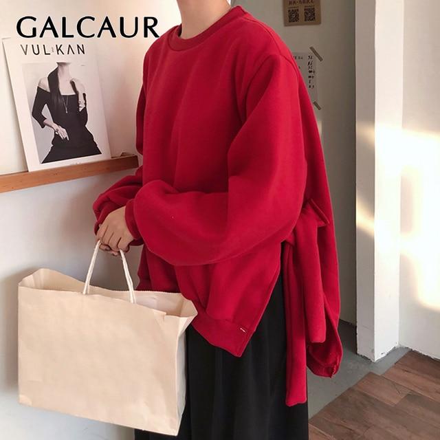 GALCAUR Lace Up Side Split Sweatshirts Female O Neck Lantern Long Sleeve Warm Plus Thick Autumn Womens Sweatshirt Fashion 2020