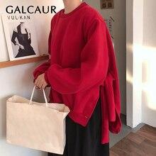 Женский свитер с О образным вырезом GALCAUR, теплый осенний свитер с круглым вырезом и длинными рукавами фонариками, модель 2020