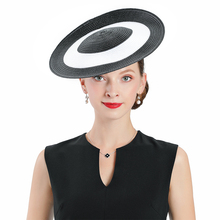 Royal Wedding Fedoras Hat Black White Fascinator For Women Elegant Church Straw Cap Lady Party Cocktail Formal Hair Accessories