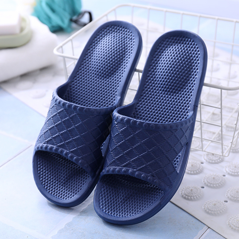 2020 New Men Slippers Casual Black Blue Grey Shoes Non-slip Slides Bathroom Summer Sandals Soft Sole Flip Flops Man Home Slipper