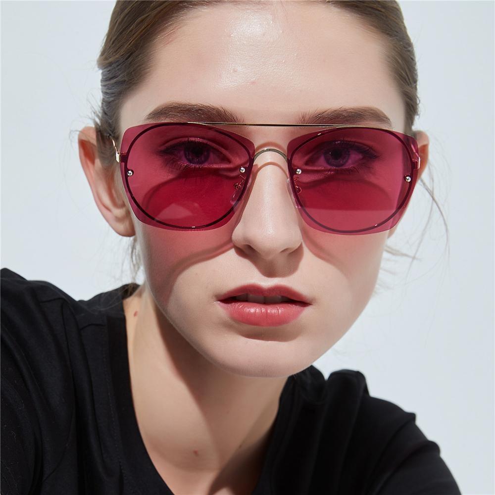 Oversized square sunglasses double beam colorful Ladies private label sunglasses