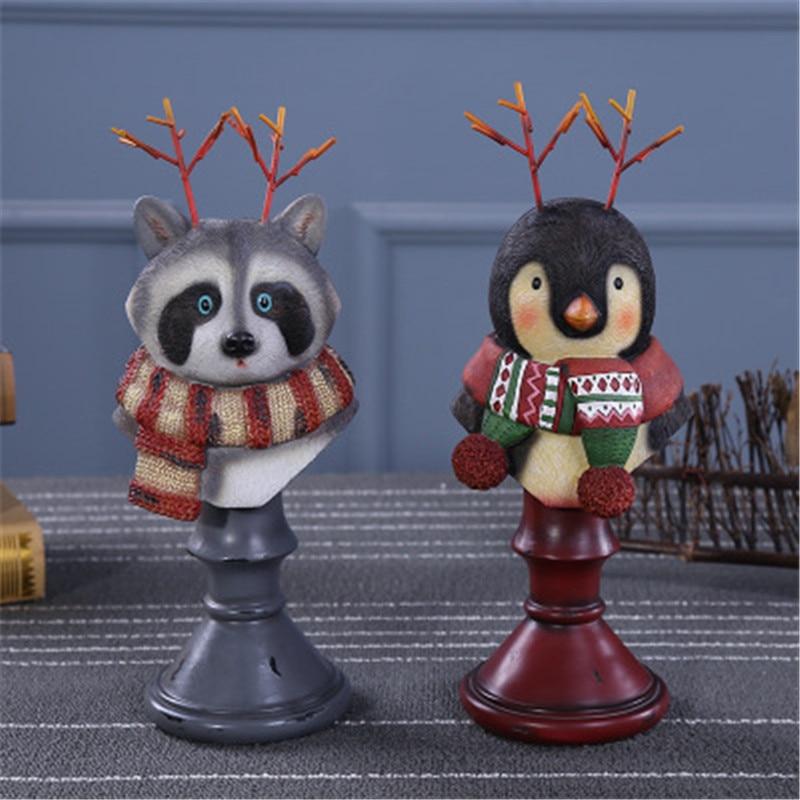 Moderne Simple Q Version pingouin raton laveur animaux résine bijoux Rack créatif coiffeuse bureau décoration X2239