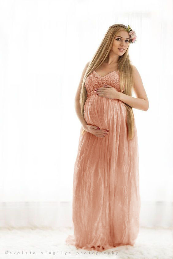 Sexy Maternity Pregnancy Dress Photography Lace Linen Long Sling Dresses For Pregnant Women Backless Maxi Gown Photo Shoots Prop (11)