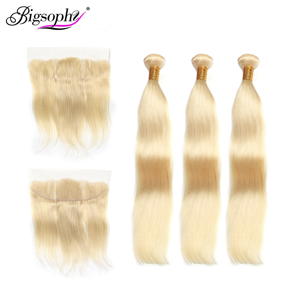 613 Blonde Straight Bundles With13x4 Frontal Lace Closure Brazilian Remy Human Hair Extension 3 Bundle With Frontal 8 - 28 inch