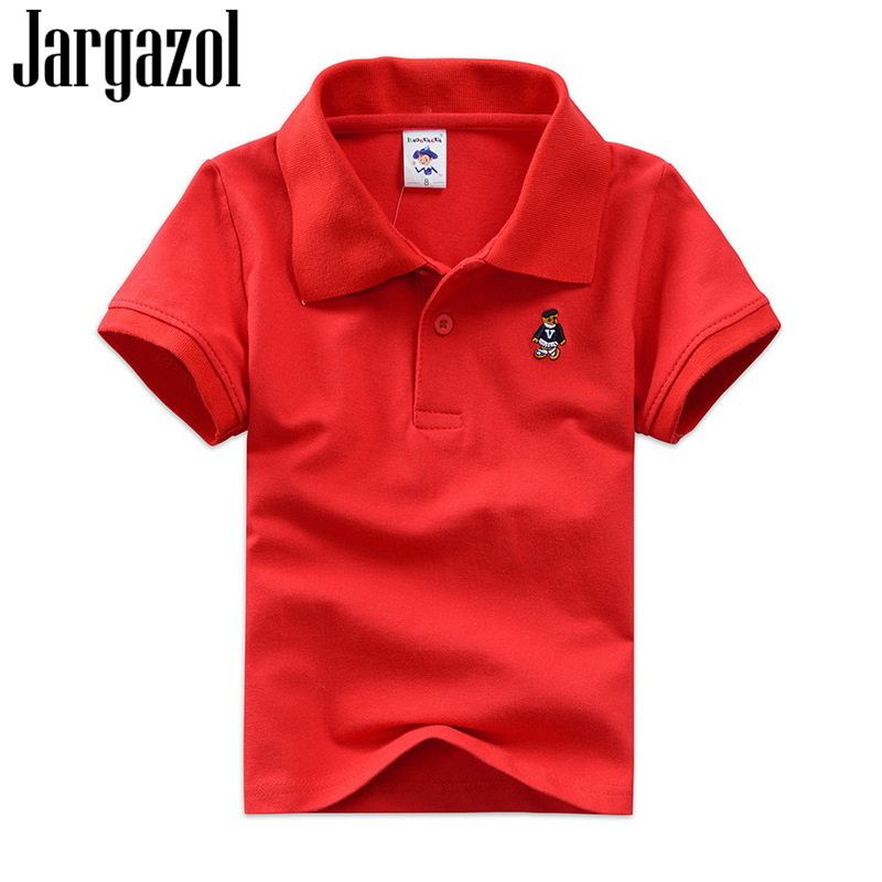 Jargazol Toddler Kids Camisa Polo Summer Short Sleeve Tops Baby Boy Polo Shirt Cartoon Embroidery Girls Costume Children Outfits