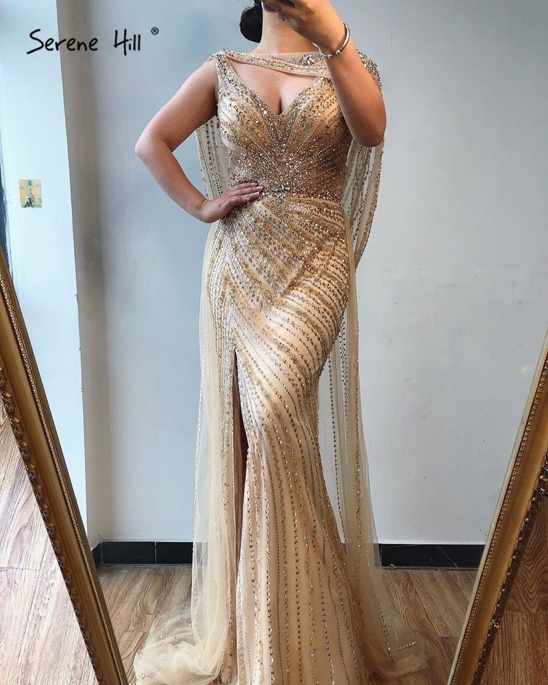 Image 4 - Luxury  V neck Sexy Evening Dresses 2020 Diamond Beading Sleeveless Split Mermaid Evening Gowns Real Photo Serene Hill DLA70301Prom Dresses   -