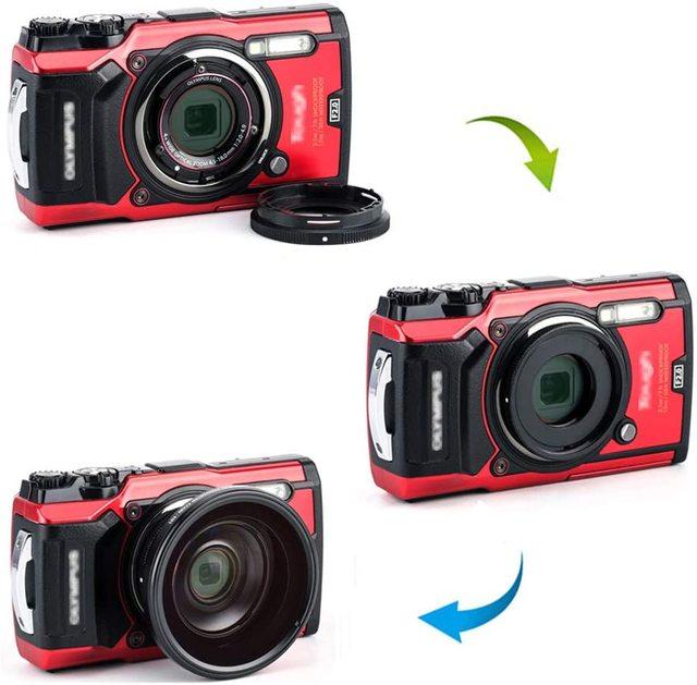 JJC Lens Adapter Ring Tube for Olympus Tough TG6 TG5 TG4 TG3 TG2 TG1 Camera FCON T01 TCON T01 as CLA T01 40.5mm Filter Thread