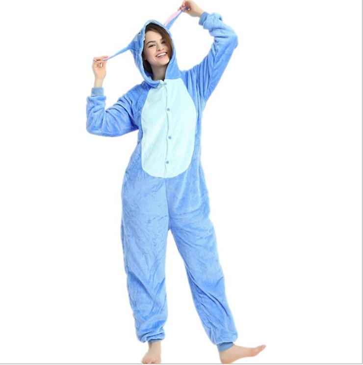 Kigurumi Unisex Dewasa Blue Pink Stitch Piyama Haiwan Onesie One - Kostum karnival - Foto 5