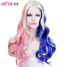 """MUMUPI 20"""" Synthetic Hair Halloween Costume Long Cosplay Wig Harley Quinn Pink Blue Ombre Wavy Wigs For Women"""