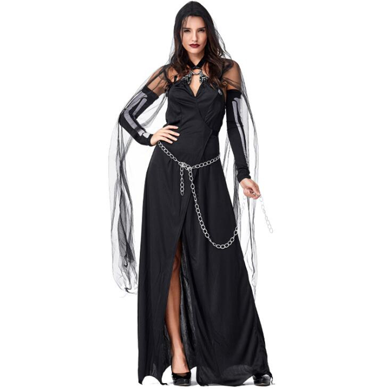 Deluxe Women Black Magic Witch <font><b>Costume</b></font> <font><b>Halloween</b></font> <font><b>Sexy</b></font> Adult Party Cosplay Clothing image