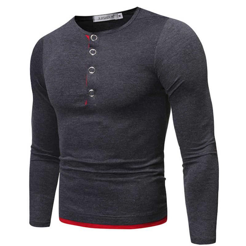 2019 jesienno-zimowa nowa męska Casual fałszywa dwuczęściowa żelazna klamra dekoracyjna koszulka z długimi rękawami Slim duży rozmiar J777