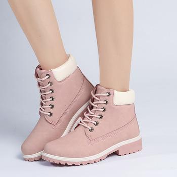 Nowe modne buty damskie PU skórzane buty damskie płaska podeszwa duże rozmiary różowe buty Martin damskie krótkie buty buty ocieplane tanie i dobre opinie NFUHGOIDHGI Sztuczna skóra Połowy łydki ZSZYWANE Stałe G193 Dla osób dorosłych Płaskie z Jeździeckie PŁÓTNO okrągły nosek