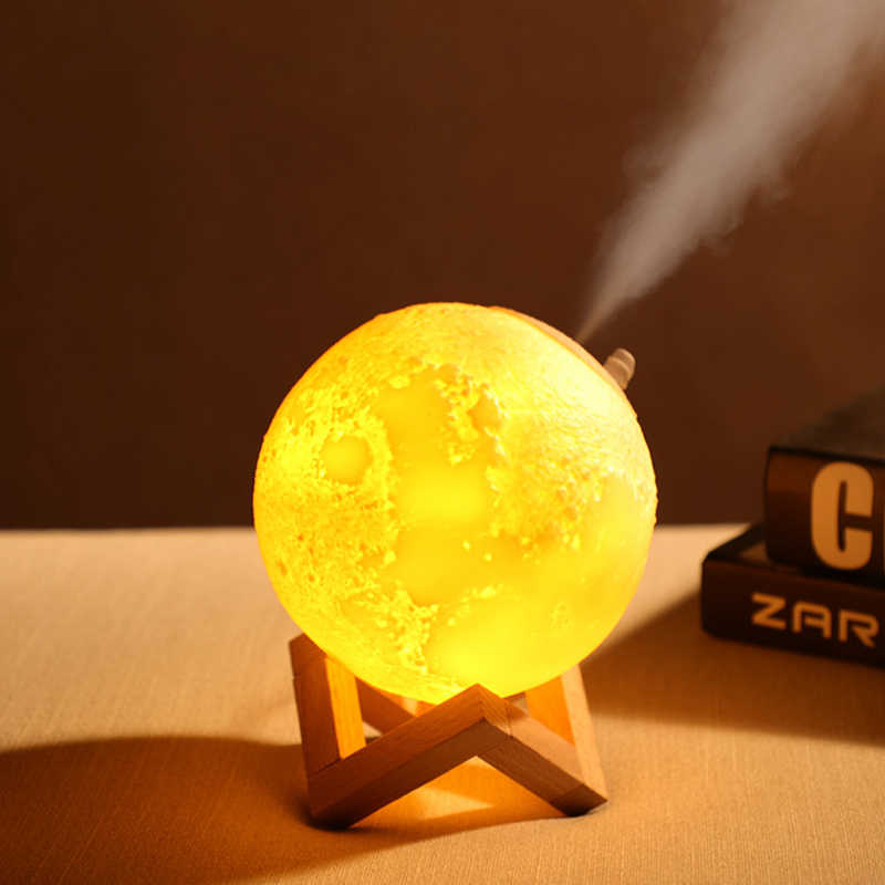 3d Moon Lamp Moonlight Humidifier With 3 Color Changing Night Light Usb Charging Air Humidifier Mist Maker For Home Bedroom Humidifiers Aliexpress