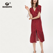 ROHOPO Draped Sleeve White Polk Dot Ruffled Red Yellow Midi Dress Buttons Fly High Waist Elegant Autumn Calf Vestido #2297