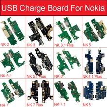Placa de entrada usb carregador, carregador para nokia 2 2.1 3 3.1 plus 5 5.1 6 6.1 7 7.1 plus 8 módulo da placa da porta usb peças de reposição