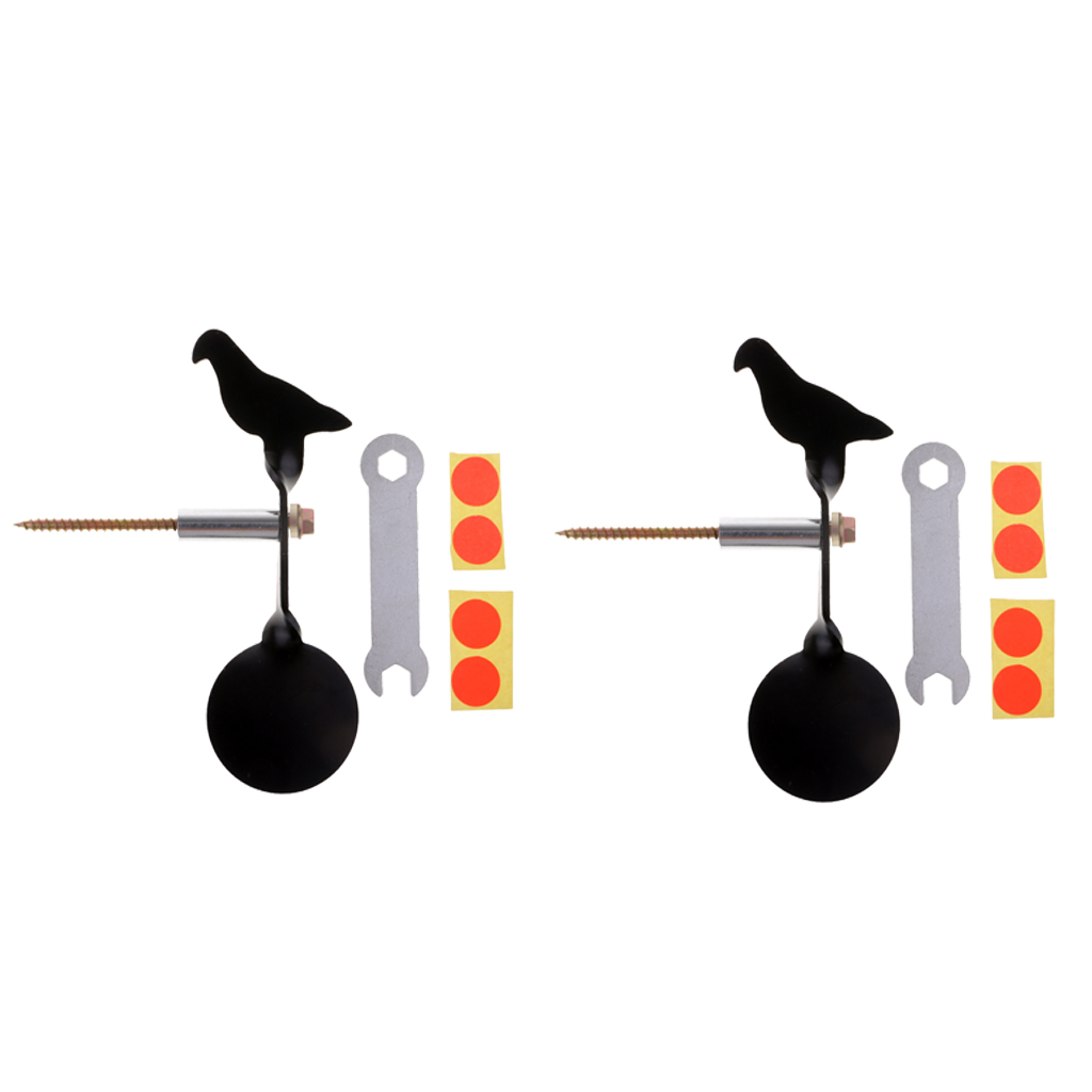 2pcs Heavy Duty Stainless Steel Bird Shape Shooting Training Target Catapult Spinners Target Thickness 3mm - Black
