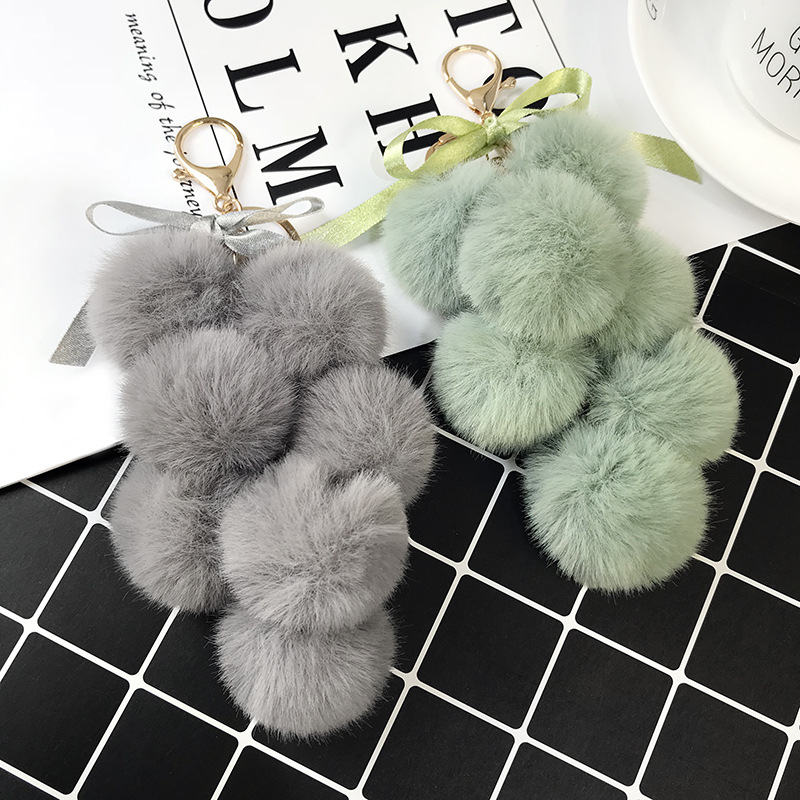 Korean Fashion Fruit <font><b>Pom</b></font> <font><b>Pom</b></font> Ball Keychain Faux Rabbit Fur Pompom Grape Keychain Women Bag Pendant Charms <font><b>Keyring</b></font> Llavero image