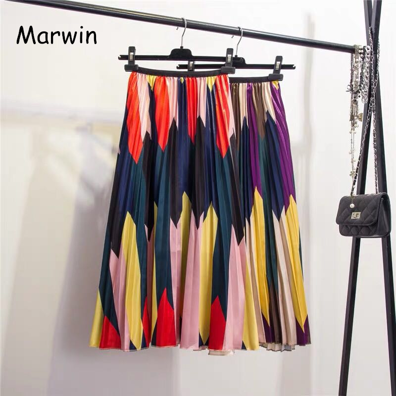 Marwin 2019 New-Coming Spring Hihg Street Style Mid-Calf Holiday Beach Women Skirts Print A-Line Empire Folk Style Skirts