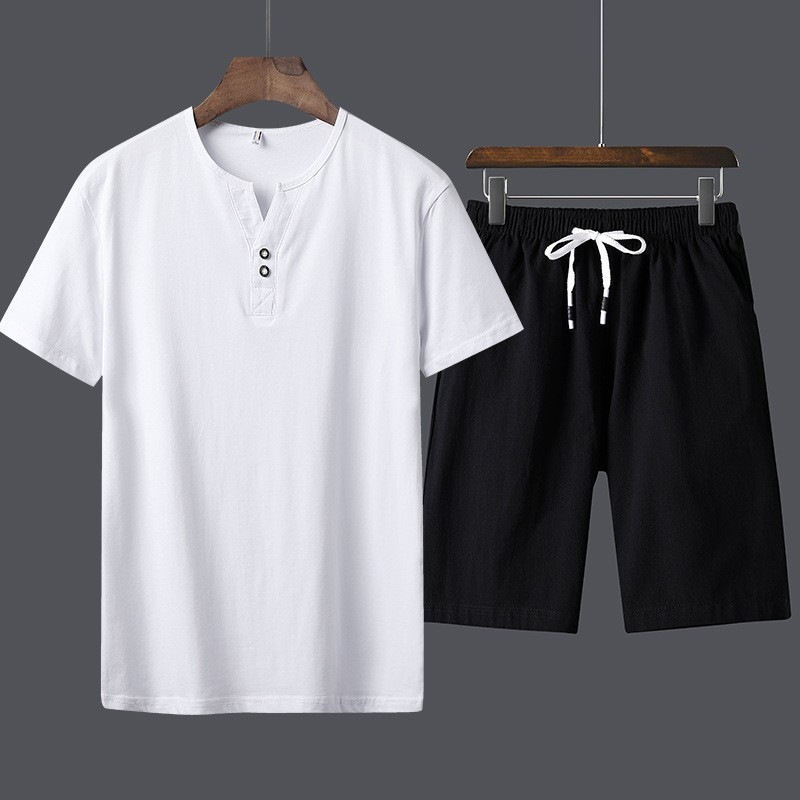 Summer Mens Casual Cotton Two Piece Set Elastic Waist Shorts Beach Set Big Size Outside Jogging Tracksuit Solid Color Male Sets